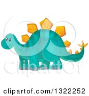 Clipart Of A Happy Stegosaurus Dinosaur Royalty Free Vector Illustration by visekart