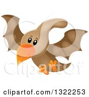 Clipart Of A Happy Cute Pterodactyl Dinosaur In Flight Royalty Free Vector Illustration