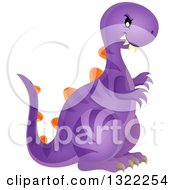 Clipart Of A Vicious Purple Dinosaur Royalty Free Vector Illustration