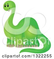 Clipart Of A Happy Green Apatosaurus Dinosaur Royalty Free Vector Illustration
