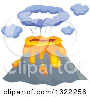 Clipart Of A Cartoon Bursting Volcano Royalty Free Vector Illustration