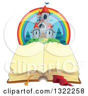 Clipart Of A Fairy Tale Castle And Rainbow Over An Open Book Royalty Free Vector Illustration