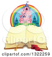 Clipart Of A Pink Fairy Tale Castle And Rainbow Over An Open Book Royalty Free Vector Illustration