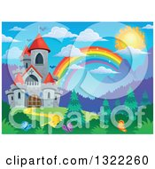 Clipart Of A Fairy Tale Castle And Rainbow In A Spring Landscape Royalty Free Vector Illustration by visekart