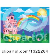 Clipart Of A Pink Fairy Tale Castle And Rainbow In A Spring Landscape Royalty Free Vector Illustration
