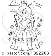 Lineart Clipart Of A Black And White Princess With Clouds And Flowers Royalty Free Outline Vector Illustration by visekart