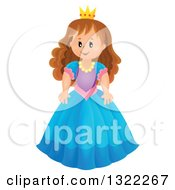 Clipart Of A Brunette White Princess In A Blue Dress Royalty Free Vector Illustration by visekart
