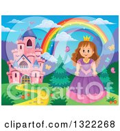 Clipart Of A Pink Fairy Tale Castle Princess And Rainbow In A Spring Landscape Royalty Free Vector Illustration by visekart