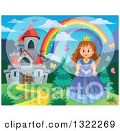 Clipart Of A Fairy Tale Castle Princess And Rainbow In A Spring Landscape Royalty Free Vector Illustration by visekart