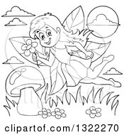 Lineart Clipart Of A Black And White Fairy Flying Over A Mushroom Royalty Free Outline Vector Illustration