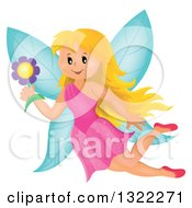 Clipart Of A Happy Blond Caucasian Female Fairy Flying With A Flower Royalty Free Vector Illustration