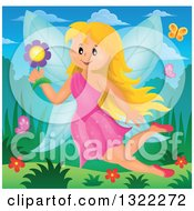 Clipart Of A Happy Blond Caucasian Female Fairy Flying With A Flower And Butterflies Royalty Free Vector Illustration