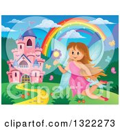 Clipart Of A Pink Fantasy Castle Fairy And Rainbow In A Spring Landscape Royalty Free Vector Illustration by visekart