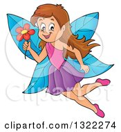 Clipart Of A Happy Brunette Caucasian Female Fairy Flying With A Flower Royalty Free Vector Illustration by visekart