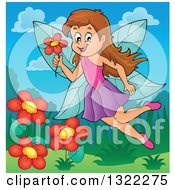 Clipart Of A Happy Brunette Caucasian Female Fairy Flying With A Flower Over A Garden Royalty Free Vector Illustration