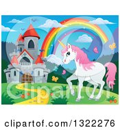 Clipart Of A Fairy Tale Castle Unicorn And Rainbow In A Spring Landscape Royalty Free Vector Illustration by visekart