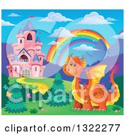 Pink Fairy Tale Castle Dragon And Rainbow In A Spring Landscape