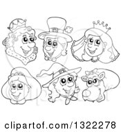 Lineart Clipart Of Black And White Fairy Tale Characters Royalty Free Outline Vector Illustration by visekart