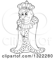 Lineart Clipart Of A Black And White King In A Robe Royalty Free Outline Vector Illustration