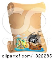Clipart Of A Vintage Parchment Scroll With A Pirate Ship And Treasure Island Royalty Free Vector Illustration by visekart