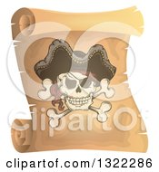 Clipart Of A Pirate Skull And Crossbones On A Vintage Scroll Royalty Free Vector Illustration