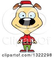 Clipart Of A Cartoon Happy Christmas Elf Dog Royalty Free Vector Illustration