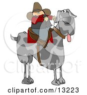 Silly Cowboy Riding A Giant Great Dane Instead Of A Horse Clipart Illustration