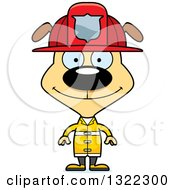 Clipart Of A Cartoon Happy Dog Firefighter Royalty Free Vector Illustration