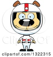 Clipart Of A Cartoon Happy Dog Race Car Driver Royalty Free Vector Illustration