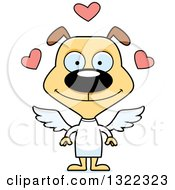 Clipart Of A Cartoon Happy Cupid Dog Royalty Free Vector Illustration