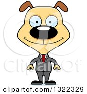Clipart Of A Cartoon Happy Dog Business Man Royalty Free Vector Illustration