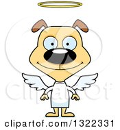 Clipart Of A Cartoon Happy Dog Angel Royalty Free Vector Illustration