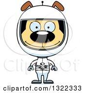 Clipart Of A Cartoon Happy Dog Astronaut Royalty Free Vector Illustration