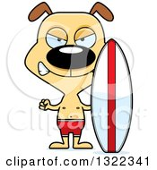 Clipart Of A Cartoon Mad Dog Surfer Royalty Free Vector Illustration