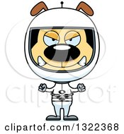 Clipart Of A Cartoon Mad Dog Astronaut Royalty Free Vector Illustration