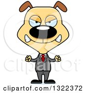 Clipart Of A Cartoon Mad Dog Business Man Royalty Free Vector Illustration