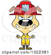 Clipart Of A Cartoon Mad Dog Firefighter Royalty Free Vector Illustration