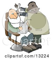 Man Shaving A Client In A Barber Shop Clipart Illustration