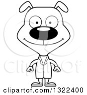 Lineart Clipart Of A Cartoon Black And White Happy Dog Doctor Royalty Free Outline Vector Illustration