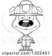 Lineart Clipart Of A Cartoon Black And White Happy Dog Firefighter Royalty Free Outline Vector Illustration
