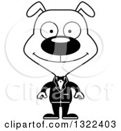Lineart Clipart Of A Cartoon Black And White Happy Dog Groom Royalty Free Outline Vector Illustration