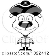 Lineart Clipart Of A Cartoon Black And White Happy Pirate Dog Royalty Free Outline Vector Illustration