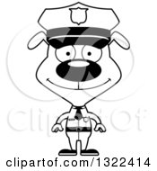 Lineart Clipart Of A Cartoon Black And White Happy Dog Police Officer Royalty Free Outline Vector Illustration