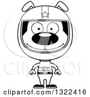 Lineart Clipart Of A Cartoon Black And White Happy Dog Race Car Driver Royalty Free Outline Vector Illustration