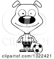 Lineart Clipart Of A Cartoon Black And White Happy Dog Soccer Player Royalty Free Outline Vector Illustration