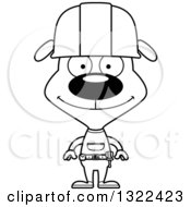 Cartoon Black And White Happy Dog Construction Worker