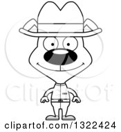 Lineart Clipart Of A Cartoon Black And White Happy Cowboy Dog Royalty Free Outline Vector Illustration