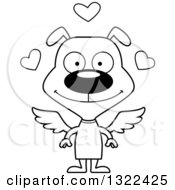Lineart Clipart Of A Cartoon Black And White Happy Cupid Dog Royalty Free Outline Vector Illustration