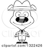 Lineart Clipart Of A Cartoon Black And White Happy Dog Detective Royalty Free Outline Vector Illustration