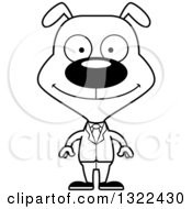 Lineart Clipart Of A Cartoon Black And White Happy Dog Business Man Royalty Free Outline Vector Illustration